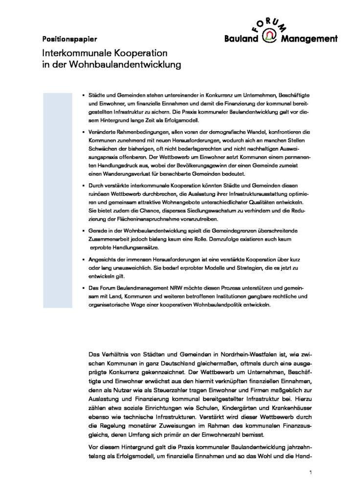 Interkommunale Kooperation in der Wohnbaulandentwicklung